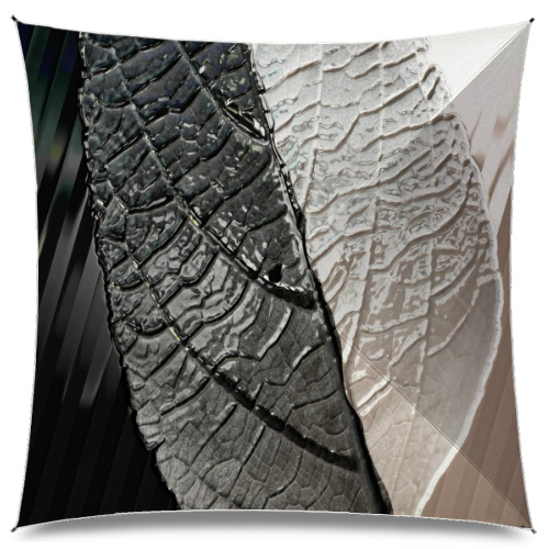 Metal Leaf In Black & White Large Umbrella